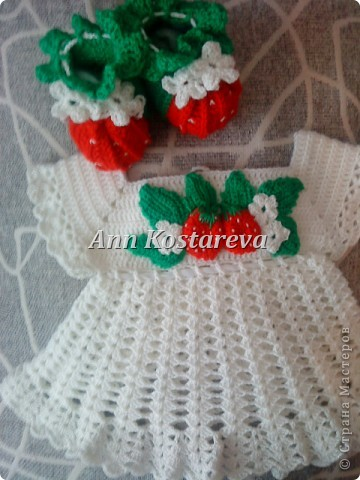 Гардероб День рождения Вязание крючком комплект для новорожденной 2 Ленты Пряжа фото 1