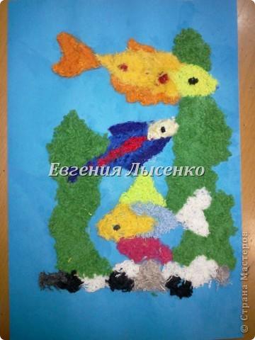 Картина панно рисунок Аппликация Аппликация из ниток Нитки фото 3