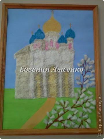 Картина панно рисунок Аппликация Аппликация из ниток Нитки фото 1