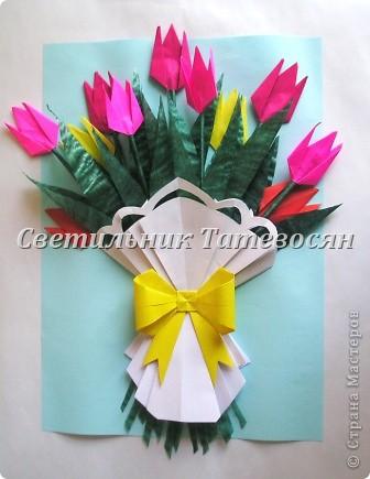 """Картина оригами цветы - Новые работы в технике """"Оригами китайское модульное"""""""