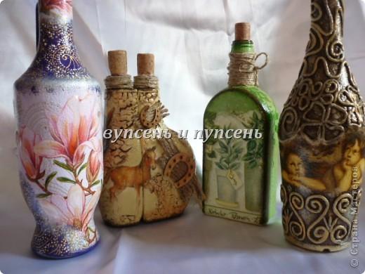 Декупаж бутылок из салфеток своими руками