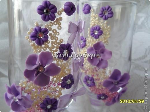 Скоро зацветёт сирень,и захотелось оформить бокалы в этом замечательном цвете. фото 2