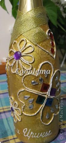 К той же свадьбе в золотом - аукционная бутылка (пейп-арт, декупаж) фото 2