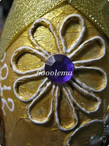 К той же свадьбе в золотом - аукционная бутылка (пейп-арт, декупаж) фото 4