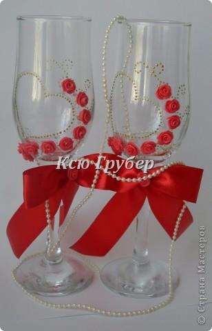 Вот такие бокальчики родились,захотелось что нибудь красного и золотого)))) фото 1