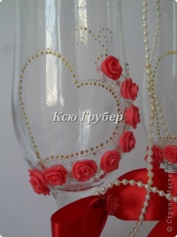 Вот такие бокальчики родились,захотелось что нибудь красного и золотого)))) фото 2