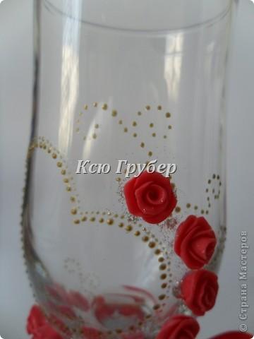 Вот такие бокальчики родились,захотелось что нибудь красного и золотого)))) фото 3