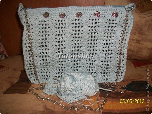 Летняя вязаная сумочка фото 56