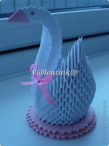 Вот и я решиласть на белого лебедя из треугольных модулей оригами. Получилась вот такая лебедушка. фото 2