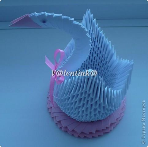 Вот и я решиласть на белого лебедя из треугольных модулей оригами. Получилась вот такая лебедушка. фото 4