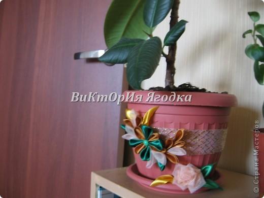 Канзаши на цветочных горшках))) так намного веселей))) фото 2