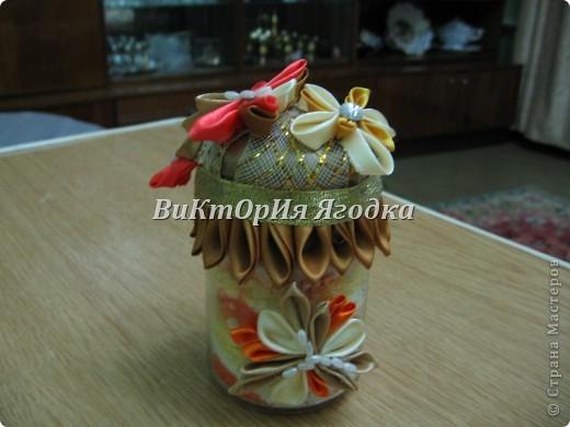 Канзаши на цветочных горшках))) так намного веселей))) фото 6
