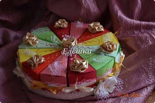 Вот такой радостный и разноцветный тортик родился у меня для подарка на ДР... Бывшая одноклассница  попросила, что-то не ординарное. Я излазила интернет и наткнулась вот на это творение http://vk.com/feed?section=photos&z=photo-38236220_282647777%2Ffeed1_29105029_1336846100 . ВДОХНОВИЛАСЬ, переработала идею и сотворила) 12 кусочков - 12 пожеланий... фото 3