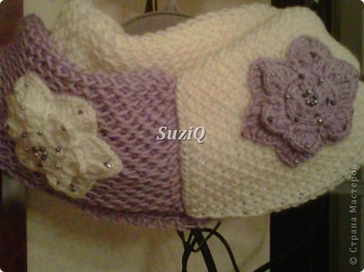 Подарочек Caron Simply Soft ушло 2 мотка, 170g/288m, спицы #5, бисер 3 мм,  размер шарфика 170 см х 30 см, концы соедины. фото 1
