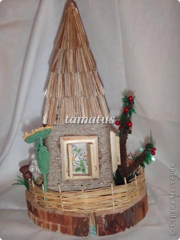 Домик из бутылки, обмотанной шпагатом. Крыша выложена соломой. Дверь, окна и порог сделаны мужем из дерева. Этот домик предназначается друзьям в подарок. фото 5