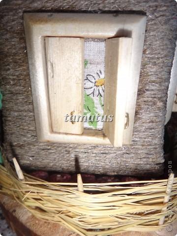 Домик из бутылки, обмотанной шпагатом. Крыша выложена соломой. Дверь, окна и порог сделаны мужем из дерева. Этот домик предназначается друзьям в подарок. фото 9
