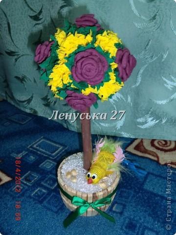 Дерево счастья в моем исполнении, ну и птица удачи (дочурка делала) прилагается. Как сделать птичку здесь: http://stranamasterov.ru/node/222827?c=favorite . фото 1