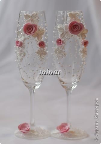 Бокалы бело-розовые фото 1