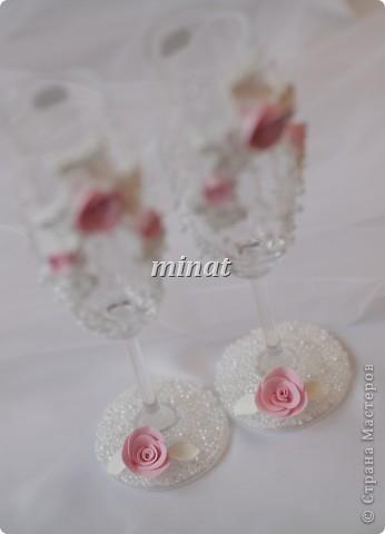 Бокалы бело-розовые фото 2