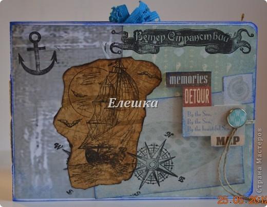 Подружка попросила придумать сувенирчик для ее друга - моряка дальнего плавания. Ну вот собственно, что у меня получилось) Мини-альбом на 10 стандартных фотографий 10*15... Оценивайте) фото 1