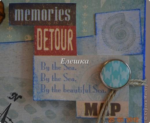 Подружка попросила придумать сувенирчик для ее друга - моряка дальнего плавания. Ну вот собственно, что у меня получилось) Мини-альбом на 10 стандартных фотографий 10*15... Оценивайте) фото 3