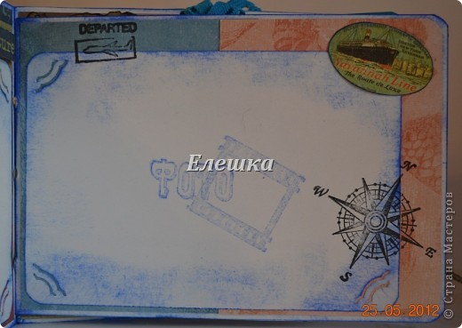 Подружка попросила придумать сувенирчик для ее друга - моряка дальнего плавания. Ну вот собственно, что у меня получилось) Мини-альбом на 10 стандартных фотографий 10*15... Оценивайте) фото 7