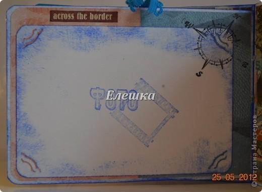 Подружка попросила придумать сувенирчик для ее друга - моряка дальнего плавания. Ну вот собственно, что у меня получилось) Мини-альбом на 10 стандартных фотографий 10*15... Оценивайте) фото 8