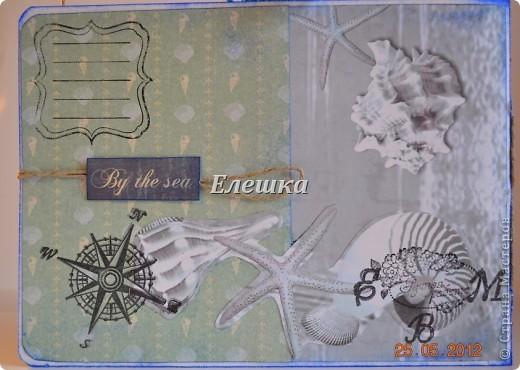 Подружка попросила придумать сувенирчик для ее друга - моряка дальнего плавания. Ну вот собственно, что у меня получилось) Мини-альбом на 10 стандартных фотографий 10*15... Оценивайте) фото 11