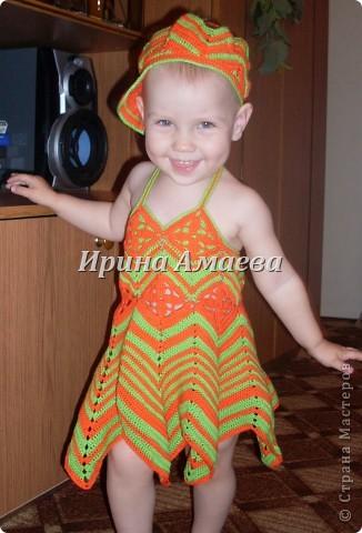 вот такой сарафанчик с кепочкой я связала на лето для дочурки фото 1