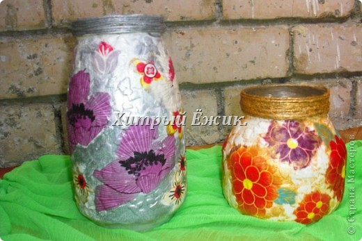 Мои декупажированные баночки-вазы фото 1