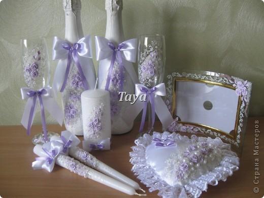 Свадебный набор в нежно сиреневом цвете. фото 5