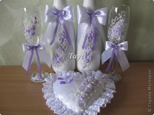 Свадебный набор в нежно сиреневом цвете. фото 3