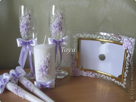 Свадебный набор в нежно сиреневом цвете. фото 4