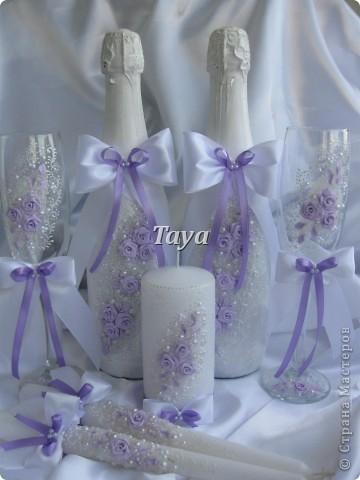 Свадебный набор в нежно сиреневом цвете. фото 1