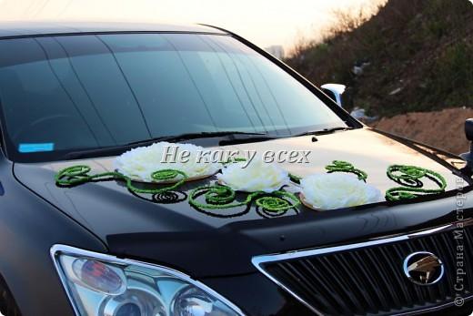 Свадебное украшение на машину фото 3
