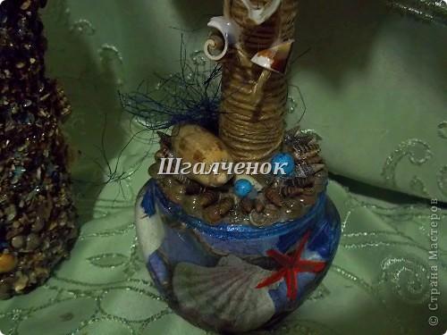 Бутылочка и деревце на МОРСКУЮ ТЕМУ. Сразу хочу извиниться за качество фото, так как фотола ночью.Уж очень хотелось вам побыстрей показать ведь мучилась почти месяц. фото 7