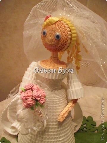 Впервые сделала куколок жениха и невесты. Попросили. Заказчице понравились. А со свадьбы пока отзывов не знаю. Надеюсь мои куколки добавили им капельку веселья! фото 5