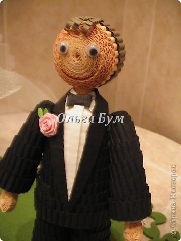 Впервые сделала куколок жениха и невесты. Попросили. Заказчице понравились. А со свадьбы пока отзывов не знаю. Надеюсь мои куколки добавили им капельку веселья! фото 6
