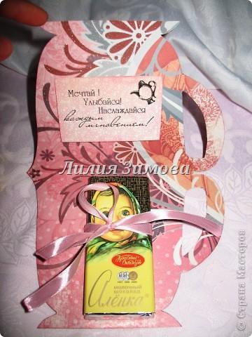 """Родился маленький наборчик """"Чайная церемония""""в подарок для девушки ко дню рождения.Подобный наборчик я уже делала, (http://stranamasterov.ru/node/360685) там только 1 был кусочек тортика, сейчас еще добавила один.Ну это чайничек...сейчас для наглядности положила такой чаек, вечером муж привезет другой чай, тоже в пакетиках, только они цветные с разными вкусами.  фото 7"""