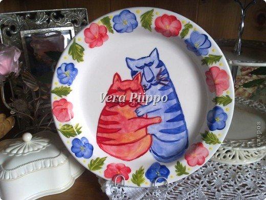 Роспись посуды. Мои котейки. фото 1