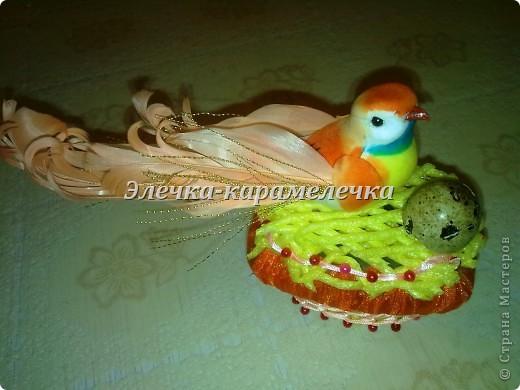Доброе утро жители СМ!!! Мои подарочки уже получены, сюрпризы сделаны, поэтому выставляю их вам на показ!!!! Это гнездышко с птичкой--кто то даже назвал --семейный очаг--в оранжевой цветовой гамме--подарена Н а т е --в ее любимой цветовой гамме!!!!! фото 1