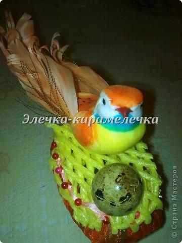 Доброе утро жители СМ!!! Мои подарочки уже получены, сюрпризы сделаны, поэтому выставляю их вам на показ!!!! Это гнездышко с птичкой--кто то даже назвал --семейный очаг--в оранжевой цветовой гамме--подарена Н а т е --в ее любимой цветовой гамме!!!!! фото 2