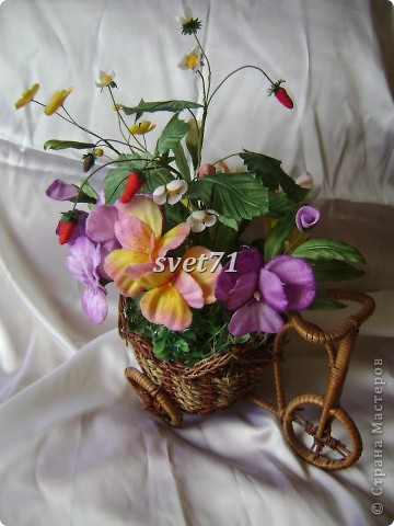 Корзиночка с Виолками(шелк) фото 1