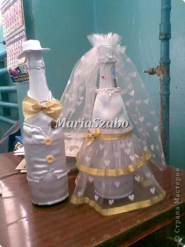 Свадебные герои. Основа  сшита из атласа. Декорирование фатином, лентой, бусинками, пуговками.