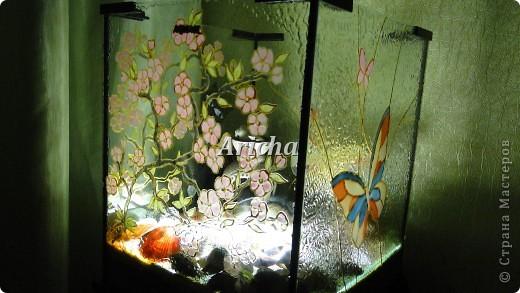 Сделала из старого аквариума вот такой светильник. Первый раз пробовала делать витраж. Как получилось, судить Вам. фото 1