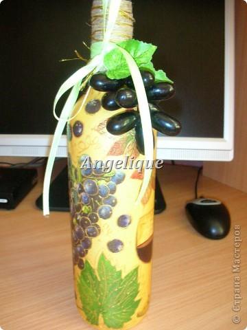Привет жителям СМ!  Эту бутылочку оформила на День рождения мужчине. Ему понравился подарок. Она входит в пятерочку первых бутылок. Вроде бы неплохо получилось.... фото 3