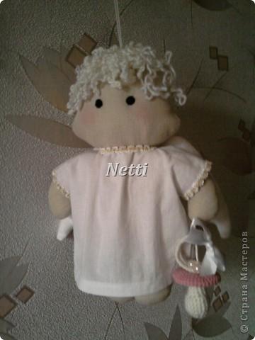 Этого Ангелочка я сшила в подарок для новорожденной девочки. Теперь эта девочка стала моей крестницей и ангелок висит у нее над кроваткой)))))))))))))) фото 4