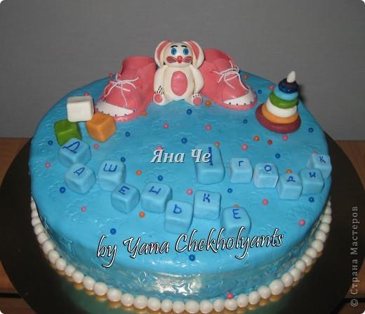 Попросили сделать голубой тортик для девочки... фото 1