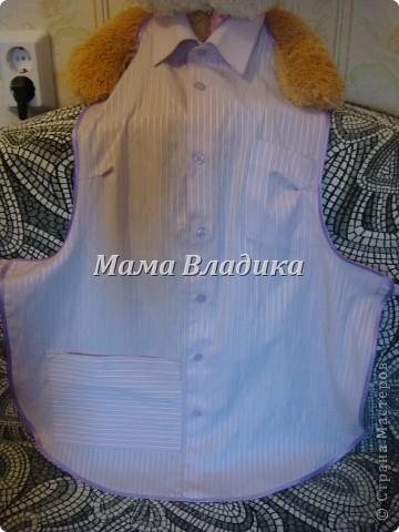Первый фартук-из передней части рубашки, для меня. Цвет очень красивый - полосочки нежно- сиреневые с белым фото 2
