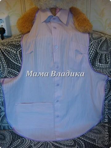 Первый фартук-из передней части рубашки, для меня. Цвет очень красивый - полосочки нежно- сиреневые с белым фото 3